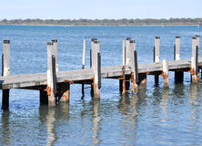 Wooden Pier Structure in Lake Royalty Free Stock Images