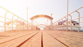 Wooden pier. Summer day on the pier on vacation stock photos