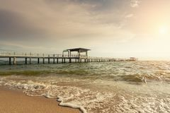 Wooden pier between sunset in Phuket, Thailand. Summer, Travel, Stock Image