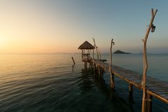 Wooden pier between sunset in Phuket, Thailand. Summer, Travel, Stock Photo