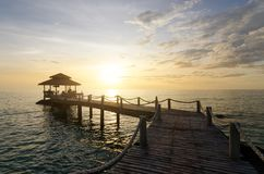 Wooden pier between sunset in Phuket, Thailand. Summer, Travel, Stock Images