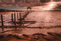 Wooden pier at sunset Royalty Free Stock Photography