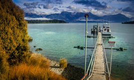 Wooden pier on a lake Stock Photo