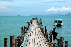 Wooden pier, Thailand. Wooden pier in Thailand, view on Koh Samui Stock Photos