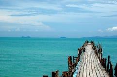 Wooden pier, Thailand. Wooden pier in Thailand, view on Koh Samui Stock Photo