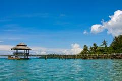 Wooden pier, Thailand. Beautiful tropical beach in Koh Kood , Thailand Stock Photo
