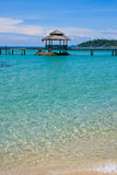 Wooden pier, Thailand. Beautiful tropical beach in Koh Kood , Thailand Royalty Free Stock Images