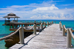 Wooden pier, Thailand. Beautiful tropical beach in Koh Kood , Thailand Stock Images