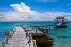 Wooden pier, Thailand. Beautiful tropical beach in Koh Kood , Thailand Royalty Free Stock Image