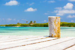 Wooden pier on tropical island Royalty Free Stock Photo