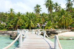 Wooden pier in tropical paradise Royalty Free Stock Photo