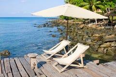 Wooden pier in tropical paradise Stock Photos