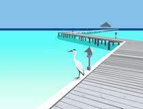 Wooden pier at tropical resort Royalty Free Stock Image