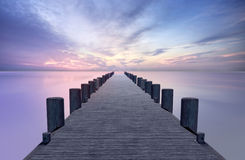 Wooden Pier at Twilight Stock Photos
