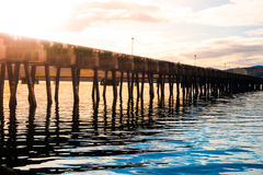 Wooden pier in the western fjord, Iceland Stock Photography