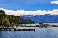 Wooden pier in Wooden pier in Los Arrayanes National Park. Stock Photography