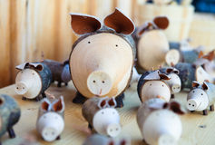 Wooden pigs Stock Photo