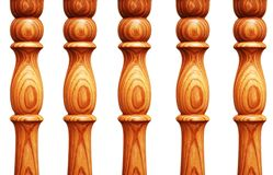Wooden pilasters isolated Stock Image