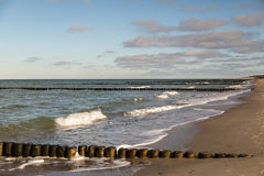 Wooden piles on the Baltic Sea Royalty Free Stock Photography