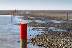 Wooden piles with red tips mark the way through the mud flats royalty free stock photography