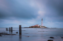 Wooden Pillars at St Mary`s Lighthouse Stock Image