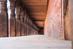 Wooden pillars in a Temple. royalty free stock images