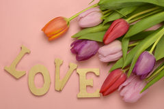 Wooden pink empty copy space background with colorful tulips. Wooden pink empty copy space background with fresh colorful spring tulips. In the corner pink Stock Images