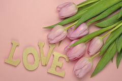 Wooden pink empty copy space background with pink tulips. Wooden pink empty copy space background with fresh colorful spring tulips. In the corner pink tulips Royalty Free Stock Photos