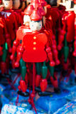 Wooden pinocchio dolls with his long nose Royalty Free Stock Images
