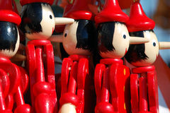 Wooden Pinocchio figures Stock Photos