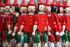Wooden Pinocchios royalty free stock image