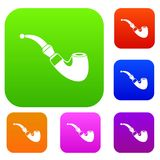 Wooden pipe set collection Royalty Free Stock Photo