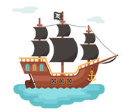 Wooden pirate buccaneer filibuster corsair sea dog ship game icon isolated flat design vector illustration. Wooden pirate buccaneer filibuster corsair sea dog Royalty Free Stock Image