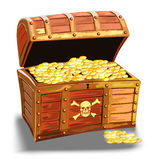 Wooden pirate chest with golden coin Stock Images