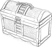 Wooden pirate chest - vector illustration Royalty Free Stock Photo