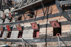 Wooden pirate ship. On the coast of genova italy Royalty Free Stock Photography