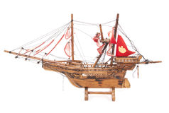 Wooden pirate ship boat model Royalty Free Stock Images