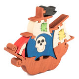 Wooden pirate ship toy Stock Photo