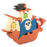 Wooden pirate ship toy Stock Image