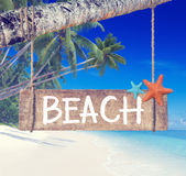 Wooden Placard Hanging on a Tree by the Beach Royalty Free Stock Photography