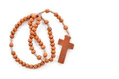 Free Wooden Plain Rosary On White Background. Royalty Free Stock Image - 37550776