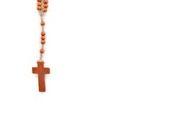 Wooden plain rosary on white background. Stock Photography