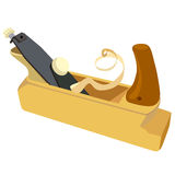 Wooden plane, boards and a shaving on a white Stock Photo