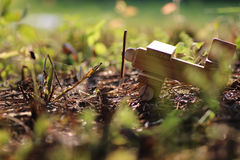 Wooden plane on the ground outdoor Stock Photo