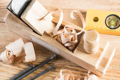 Wooden planer and filings Stock Image