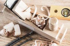 Wooden planer and filings Stock Images