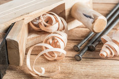 Wooden planer and filings Stock Photography