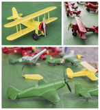 Wooden planes. Collection of handmade wooden planes - toys stock images