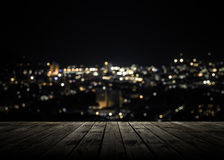 Wooden plank above phuket town at night Stock Images