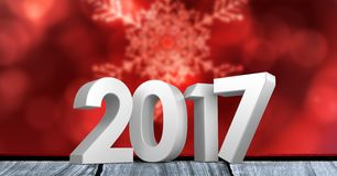 2017 on wooden plank against a composite image 3D of digitally generated background Stock Photo